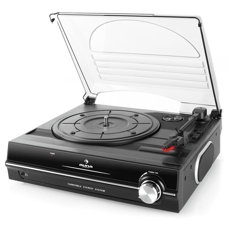 33 schwarz Plattenspieler mit Lautsprecher auna TBA-928 3,5mm-Klinken-Ausgang 2 Geschwindigkeiten Riemenantrieb Nadel enthalten Stereo Cinch-Line-Out Schallplattenspieler 45 U Min