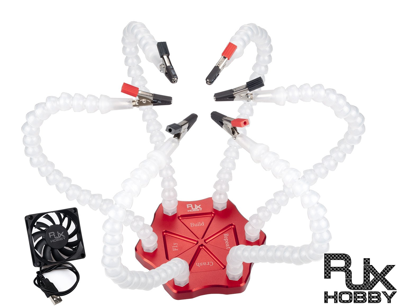 RJX Soldering Helping Hands - Third Hand Solder Station Aid Tool with 6 Flexible Arms, USB Fan & Alligator Clips - Hobby Vise Circuit (Red Aluminum Base + White Arms)