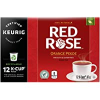 Red Rose Orange Pekoe Black Tea for a hot, Refreshing Drink K-Cup Pods Rainforest Alliance Certified 12 ct