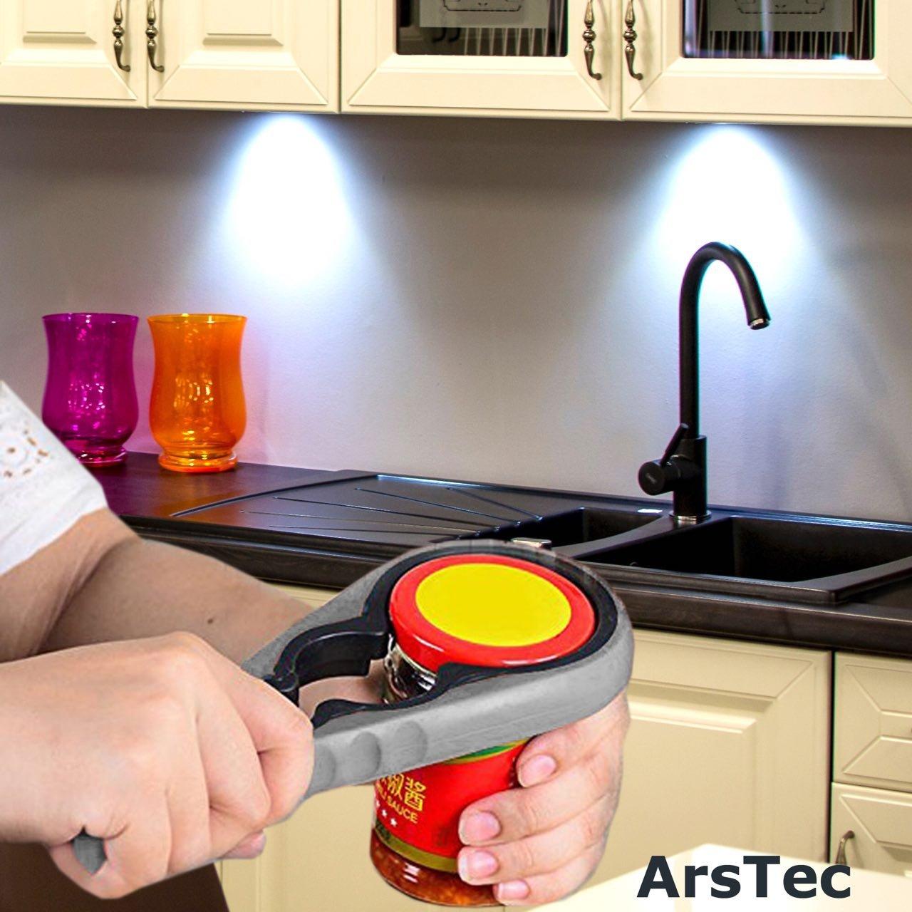 Arstec Jar Bottle Opener Non Slip Jar Gripper Pad - Rubber Jar Can Lid Opener for Weak, Senior, Arthritis Hands (Gray) by ArsTec (Image #4)