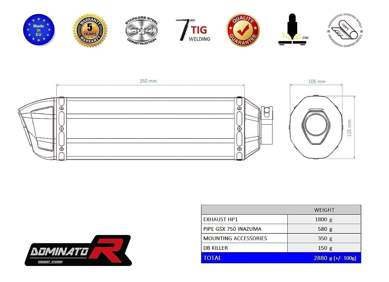 DB Killer Dominator Exhaust silenciador de escape SUZUKI GSX 750 INAZUMA GP I