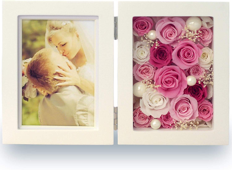 プリザーブドフラワー IPFA フォトフレーム 写真立て 縦向き [バラ プレミアム ピンクグラデーション] お祝い/ギフト/薔薇/花/プレゼント/枯れない花/母の日/結婚祝い