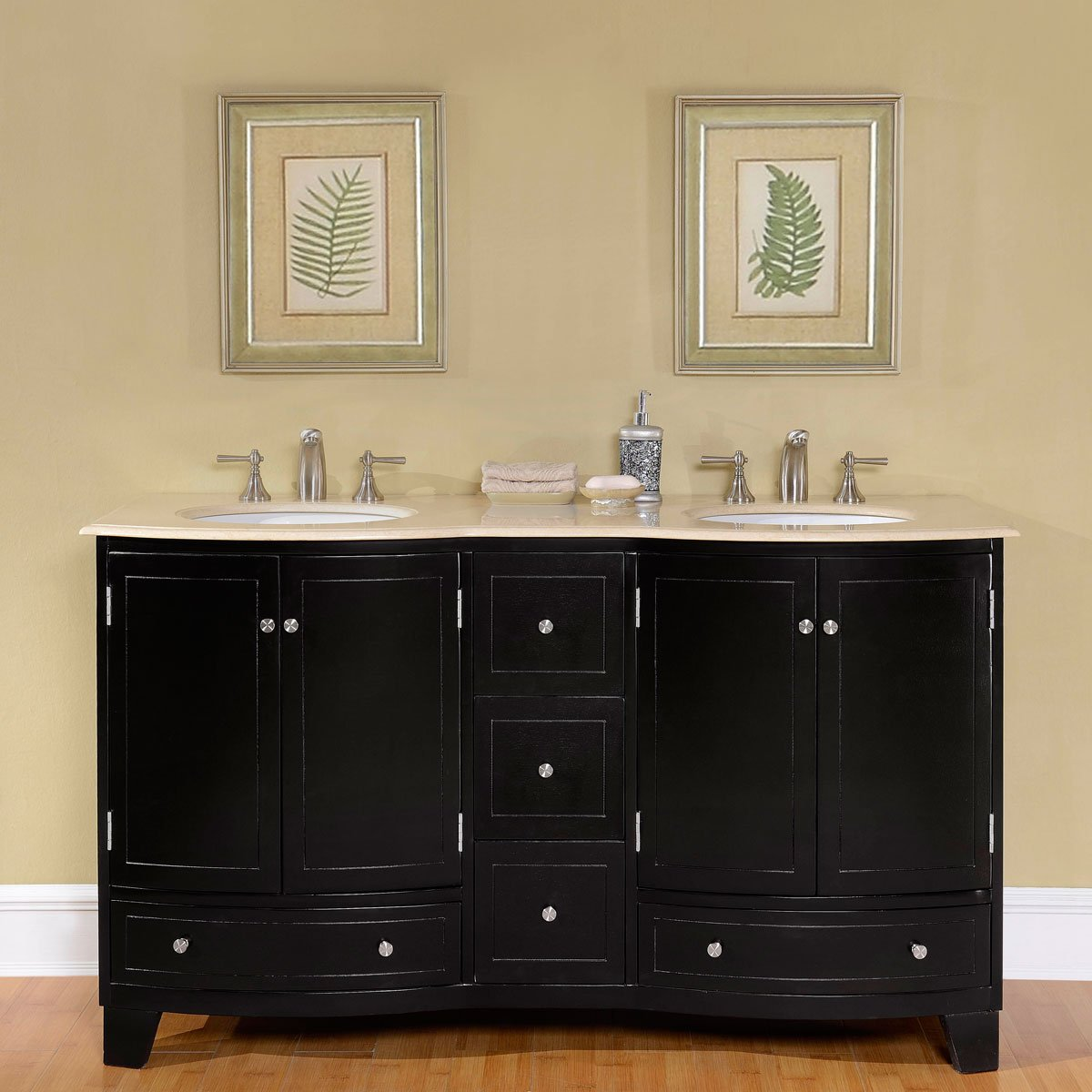 Silkroad Exclusive Marble Top Double White Sink Bathroom Vanity with Espresso Cabinet, 60-Inch by Silkroad Exclusive
