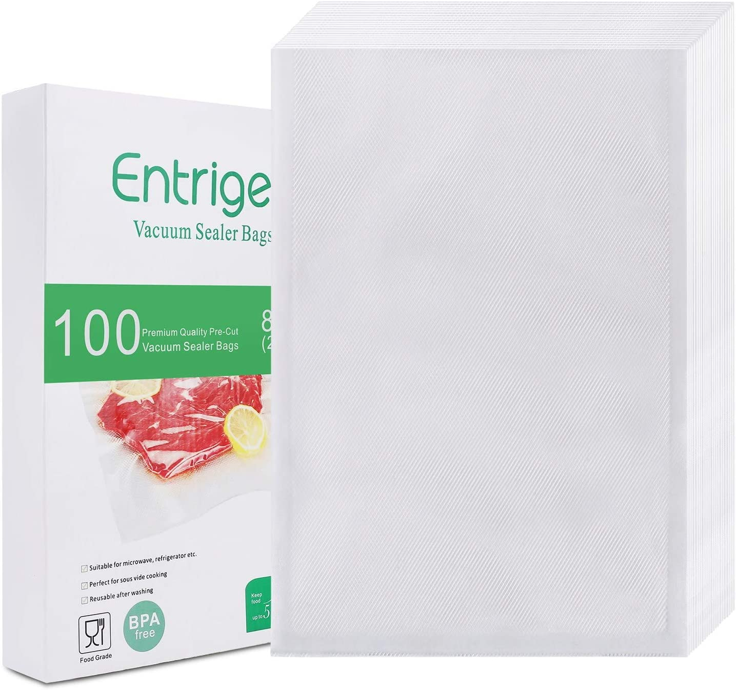 Entrige Vacuum Sealer Bags for Food, 8 X 12 Inches Pre-cut Food Saver Bags Rolls, BPA-Free Vacuum Food Storage Bags for Sous Vide Vac Seal, Commercial Grade, Embossed Seal A Meal Bags Rolls (100 Pcs)