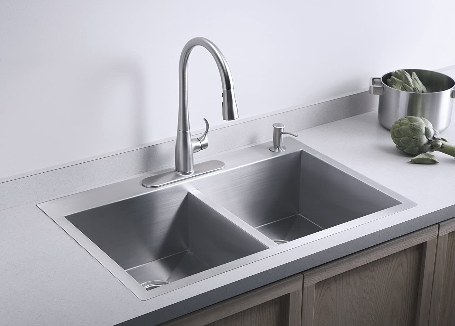 Kohler k 3820 4 na vault double equal kitchen sink with four hole kohler k 3820 4 na vault double equal kitchen sink with four hole faucet drilling double bowl sinks amazon workwithnaturefo