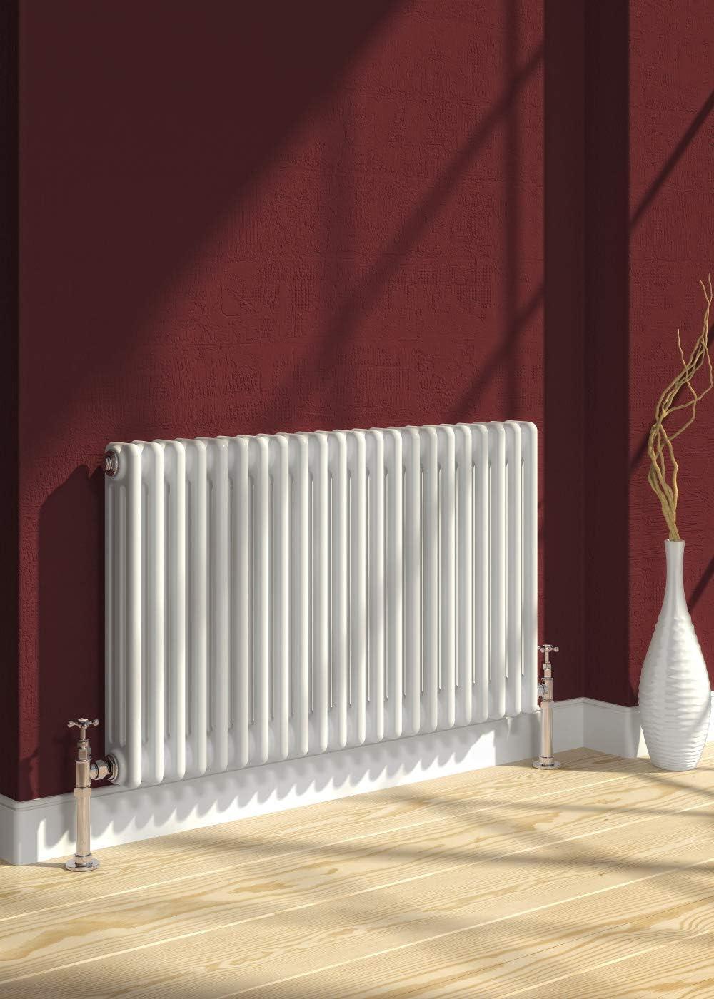Reina - Radiador de calefacción central (hierro fundido, 3 columnas, horizontal, 600 mm x 1190 mm, para baño, cocina y habitación, doble columna de combustible, color blanco