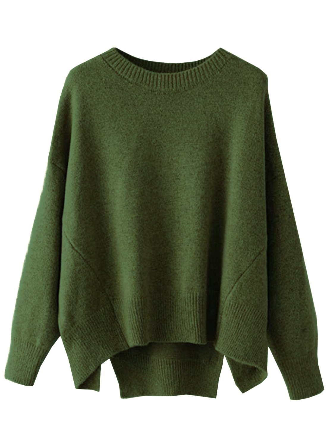 Futurino Women's Crew Neck Solid Long Drop Sleeves Loose Knit Pullover Sweaters (One Size, Olive)
