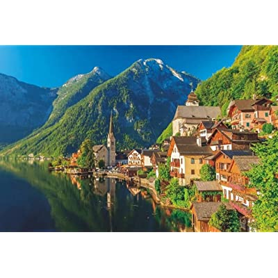 PROW 1000 Piece Austria Lake Hallstatt Town Colorful Wooden for Adult Puzzle Home Decoration Photo Frame Children Floor Puzzle for Boy Girl Friends Finished Size 30 x 20 Inch: Toys & Games