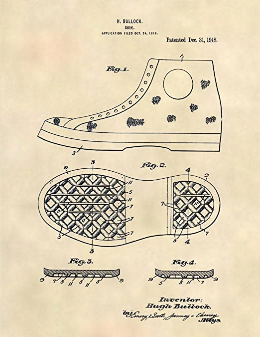Patent Prints Converse All Stars (Chuck Taylors) Patent Art Sneaker Patent Art Poster (8.5 x 11) 424