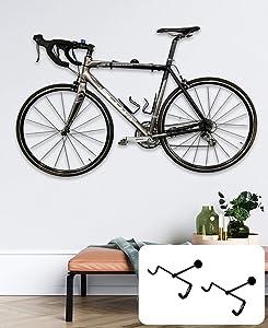 StoreYourBoard 2 PACK Naked Bike Wall Display Mount, Indoor Home Garage Apartment Storage Rack, Floating Minimalist Design, Adjustable Bicycle Hanger Holder, Holds Road Bikes and Mountain Bikes