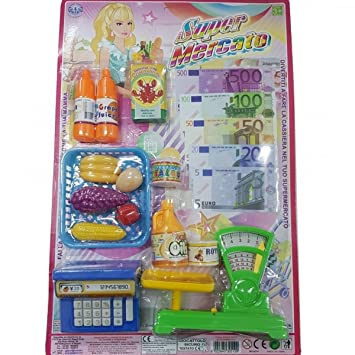 TrAdE shop Traesio- Super Market Caja registradora Balanza Monedero Compra Carrito Fruta Leche Juegos Niños
