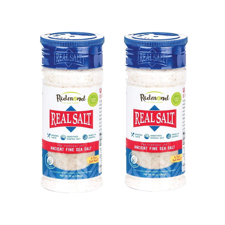 Redmond Real Sea Salt - Natural Unrefined Organic Gluten Free Fine, 10 Ounce Shaker (2 Pack)