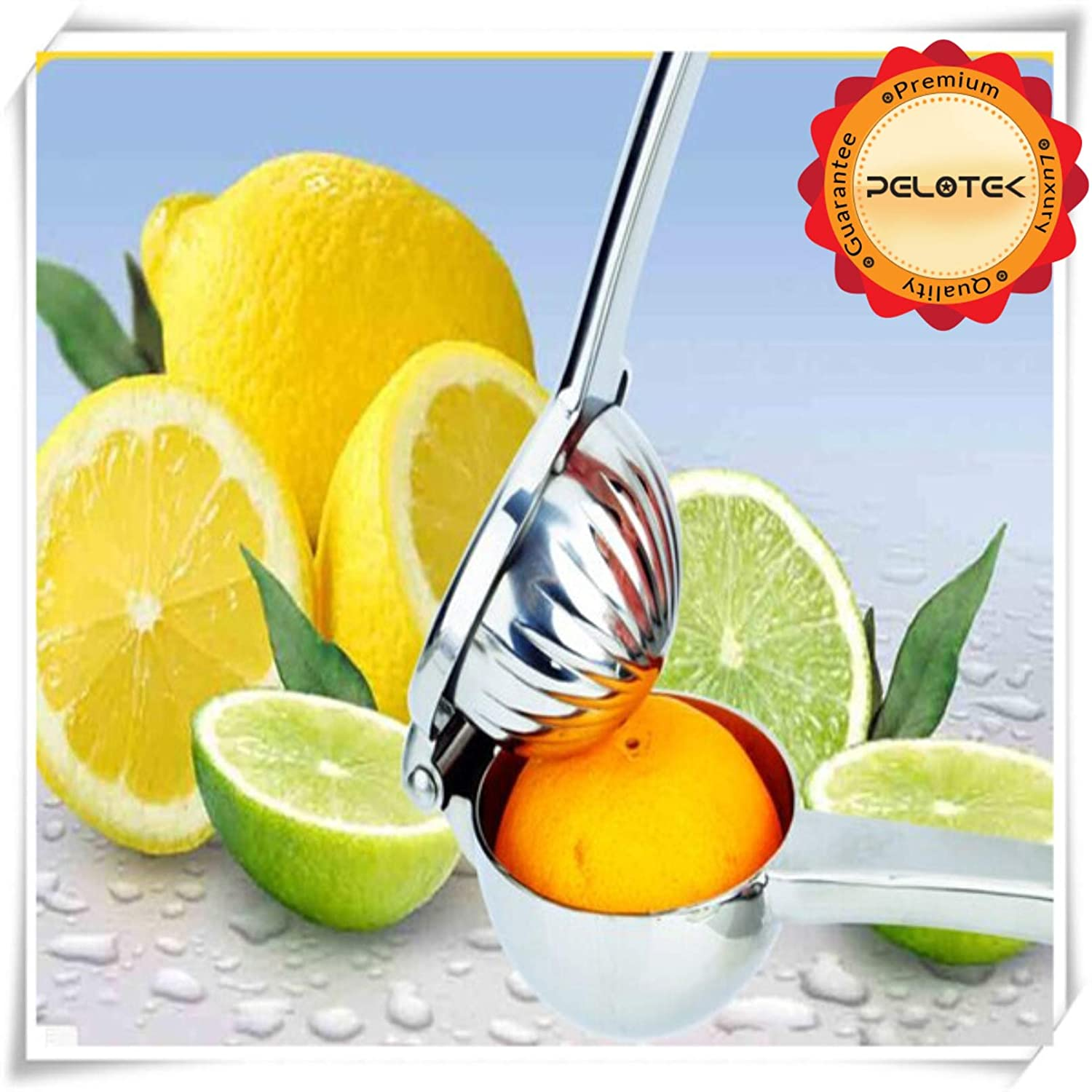 Amazon.com: Pelotek- Lemon Squeezer/Citrus Juicer/Lime Fruit Juice Presser ✮ Made With Quality 304 Stainless Steel + Extra Wide Bowl (3.45