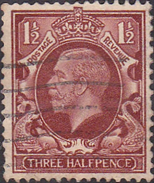 King George Three Halfpence Brown Cancelled Postage Stamp