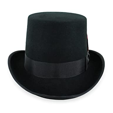 bae0d57240d7c5 Belfry Topper 100% Wool Satin Lined Men's Top Hat in Black Available in 4  Sizes