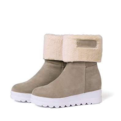 7d56784d78947 Inornever Women s Winter Warm Ankle Booties Round Toe Suede Faux Fur  Platform Flat Snow Boots Beige