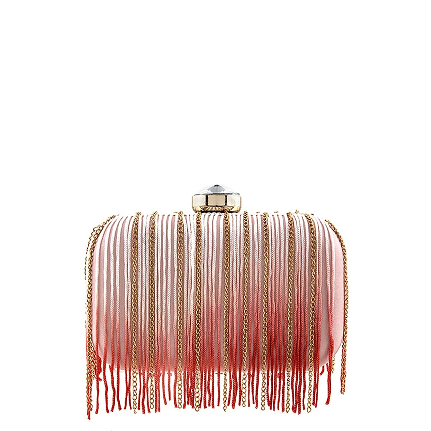 Pink and Coral Double Side Chain and String Fringe Design Clutch