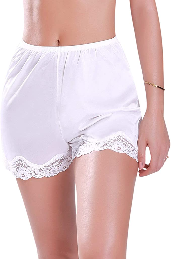 1950s Vintage Lingerie, Retro Pin Up Underwear Ilusion 1039 - Womens Satin Bloomer Pettipant Short Slip $9.99 AT vintagedancer.com