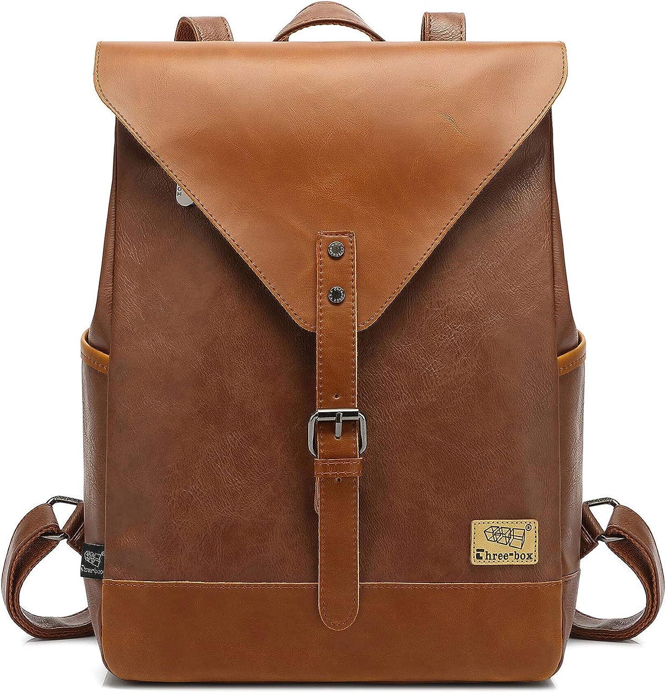 Zebella Leather Backpack Laptop Bookbag for Women Men,Vintage Travel Backpacks College School Book Bag Casual Daypack