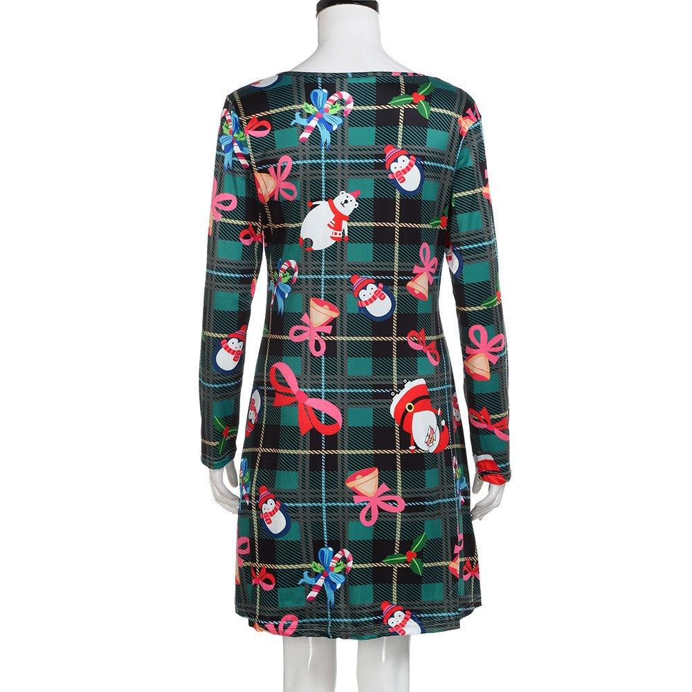 Cartoon Dress,Womens Christmas Santa Printed Round Neck Long Sleeve Swing Dresses Leewos Clearance