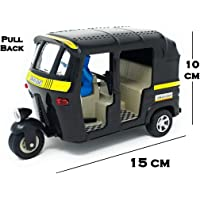 TANMAN TOYS Pull Back auto Rickshaw Toy in Big Size for Kids, 1:14 Miniature Scale die-cast Model Toy 3 Wheeler Vehicle for Public Transport, Black Color