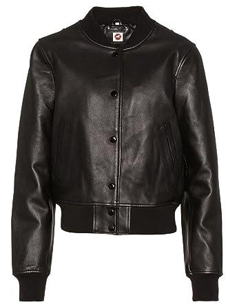 af7ddc6bc4e Takitop Luna Stylish Varsity Black Bomber Real Leather Jacket Women Banana  Collar at Amazon Women's Coats Shop