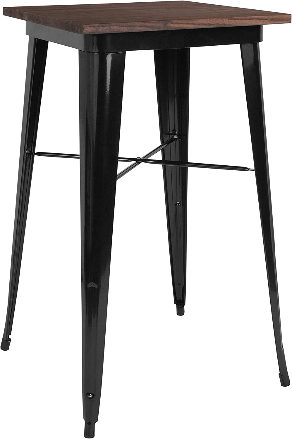 """Flash Furniture 23.5"""" Square Black Metal Indoor Bar Height Table with Walnut Rustic Wood Top"""
