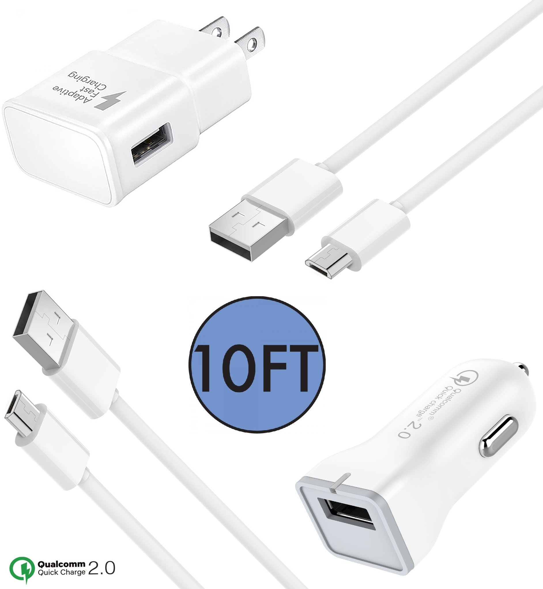 Samsung Galaxy S7 / S6 / S7 Edge / Note 5 / S6 Active Charger by ixir combo Charger! (Wall Charger + Fast Car Charger + 2 Micro Cable) ] Fast Charging Charge up to 50% faster! – White (10 FEET)