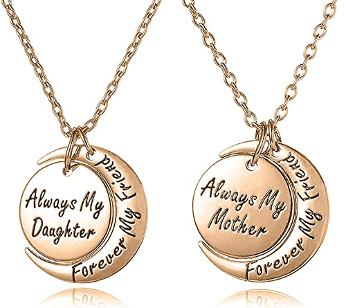 77b03dd6ea7a8 Mother Daughter Jewelry Necklace Gift Set for 2 - ''Always My  Mother/Daughter Forever My Friend'' - Mom Daughter Matching Moon Pendant  Necklaces