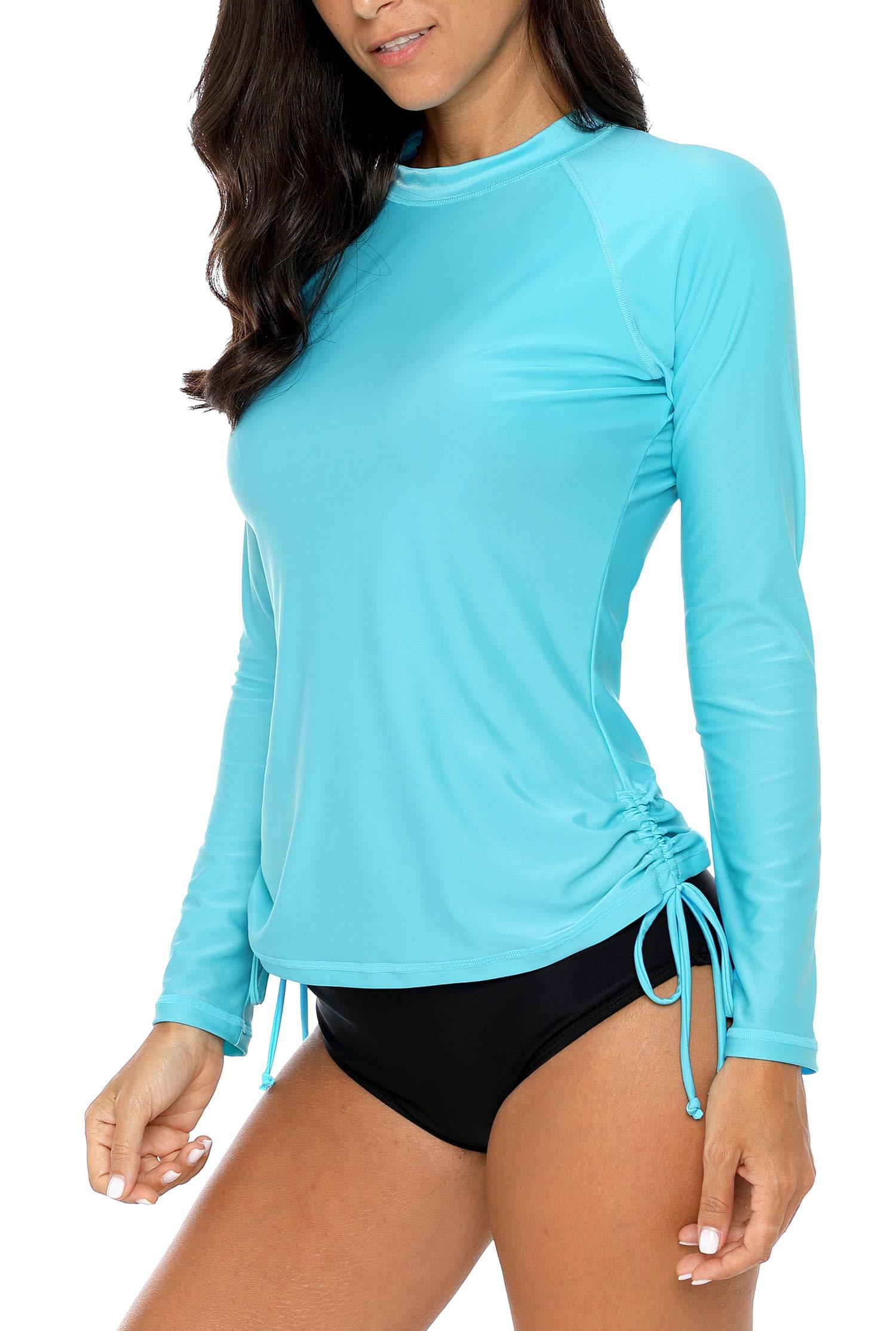 ALove Womens Drawstring Rash Guard Shirt UV Protection Swim Shirts Aqua M by ALove (Image #5)