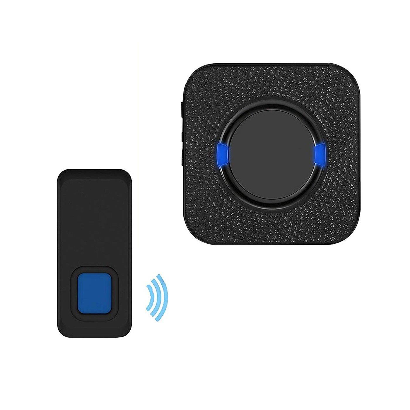 MUTANG Wireless Doorbell Waterproof Door Chime Kit With 1 Plug-in Receivers & 1 Push Button 300m Electric Doorbell 5 Level Volume
