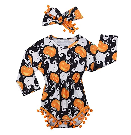 2pcs cute infant baby girl halloween clothes long sleeve pumpkin bodysuit romper with with headband outfits