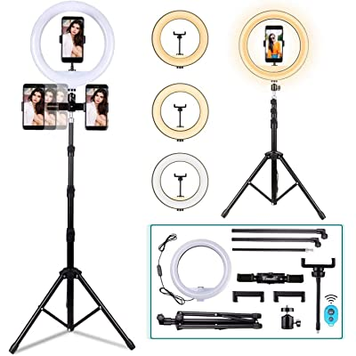"BNTTEAM LED Ringlight Portable Plegable 12""Maquillaje RingLight Trípode Soporte para Youtube Video, Estudio, Maquillaje, Regulable 3 Modos de luz 10 Nivel de Brillo, Instalación fácil"