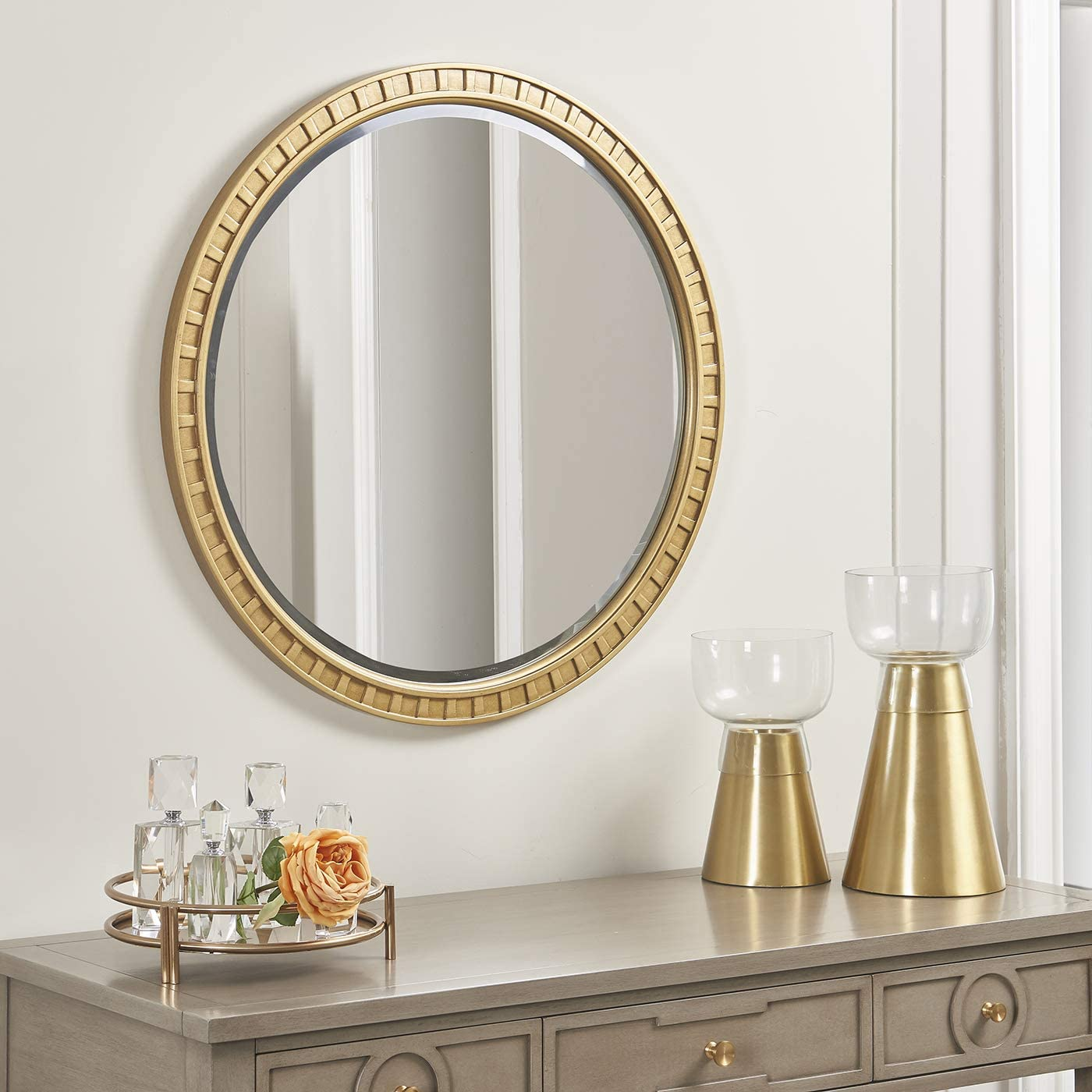 Amazon Com Jennifer Taylor Home Troy Round Gold Accent Wall Mirror Golden Oak Home Kitchen