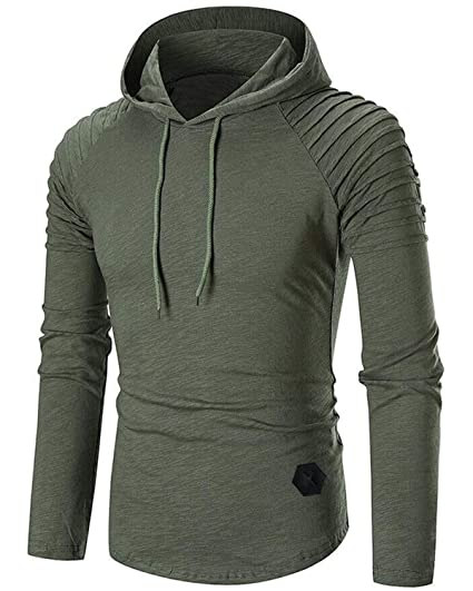 d5a2b094 BELLEZIVA Mens Streetwear Solid Pullover Hoodie Midweight Sweatshirt Hip  Hop Shirt Slim Fit Outfits Army Green