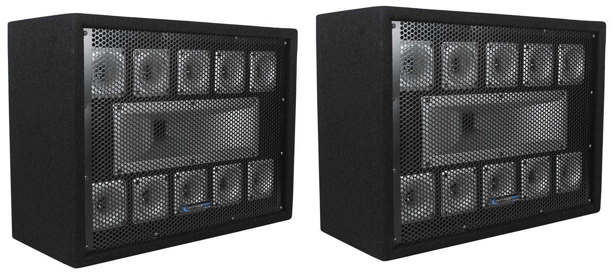 (2) Technical Pro TW110 1000 Watt Carpeted 11-Way DJ Tweeter Box Array System (2) TW110