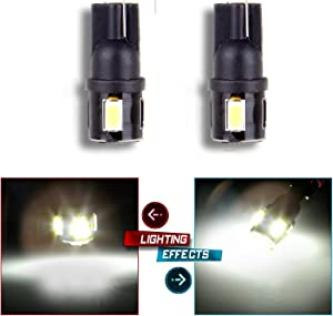 cciyu 2pcs Super Bright 5730 SMD 194 168 175 2825 W5W T10 Car LED Bulbs Xenon White