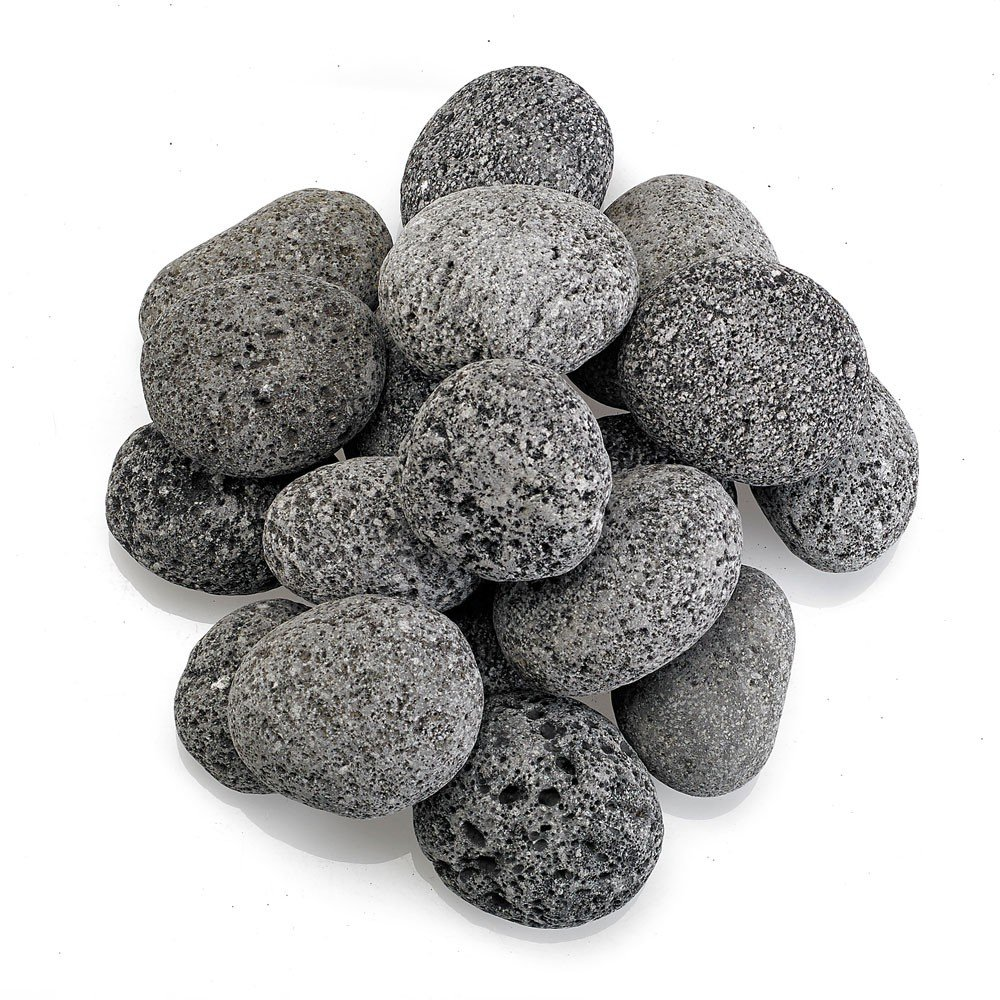 amazoncom american fireglass 10 lbs grey tumbled lava stones for fire pit or fireplace xlarge 4 to 6 inch patio lawn u0026 garden - American Fireglass