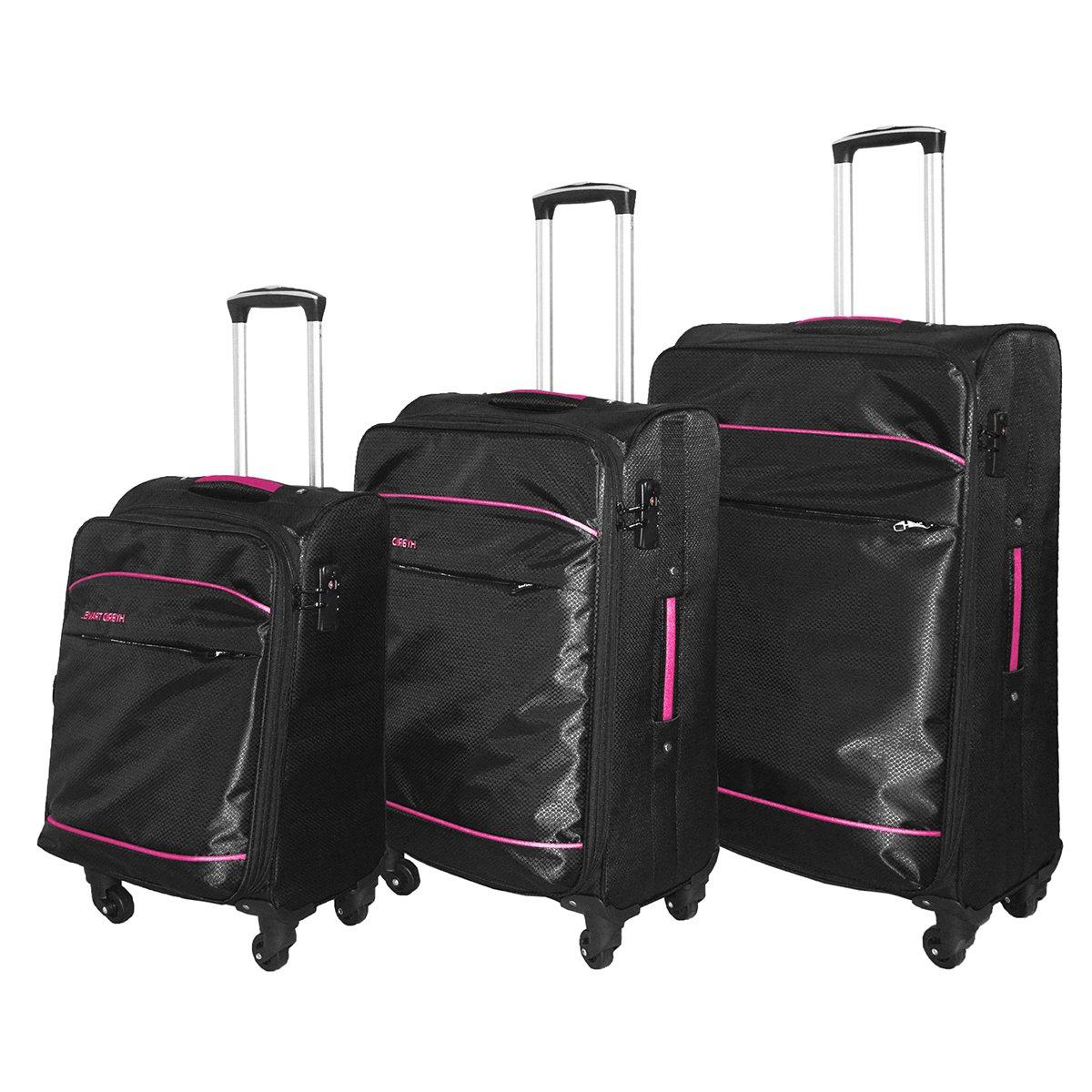 3 PC Luggage Set Durable Lightweight Soft Case Spinner Suitecase LUG3 LK637 BLACK/PINK