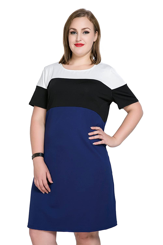3a3b0edca8b3 Cute Ann Women s Short Sleeve Color Block Plus Size Summer Casual T-shirt  Dress at Amazon Women s Clothing store