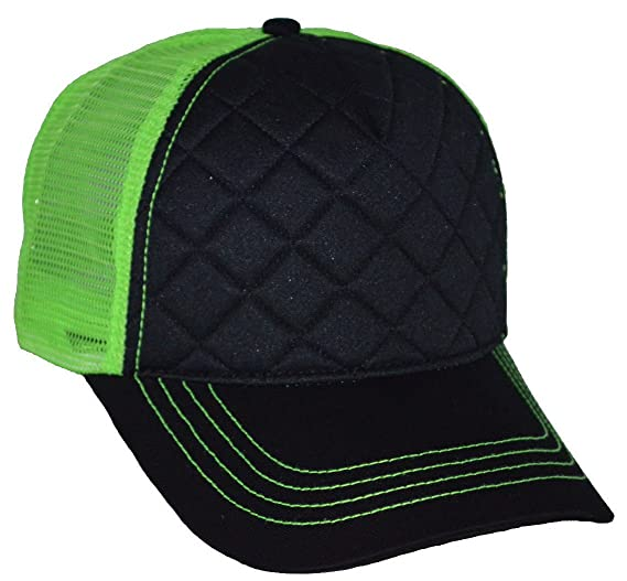 046c10c66ea64 Image Unavailable. Image not available for. Color  Fashion Quilted Trucker  Cap Black Neon Green