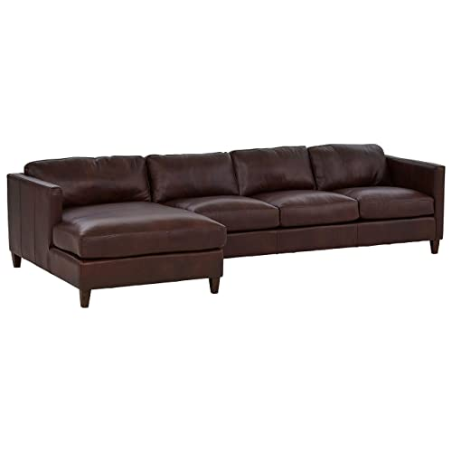 Stone Beam Andover Left-Facing Sofa-Chaise Sectional, 126 W, Driftwood Leather