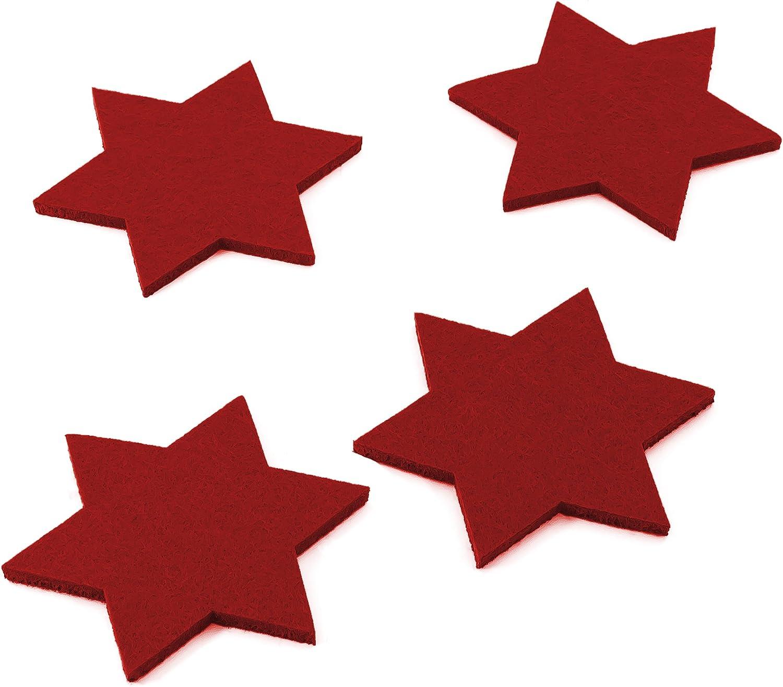 D/écoratif No/ël Lot de 4 dessous de verre Oblique-Unique/® en feutre et en forme d/étoile solide et de qualit/é sup/érieure