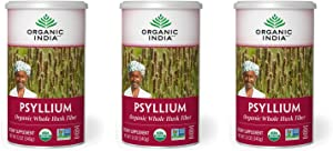Organic India Psyllium Herbal Powder - Whole Husk Fiber, Healthy Elimination, Keto Friendly, Vegan, Gluten-Free, USDA Certified Organic, Non-GMO, Soluble & Insoluble Fiber - 12 oz Canister, 3 Pack