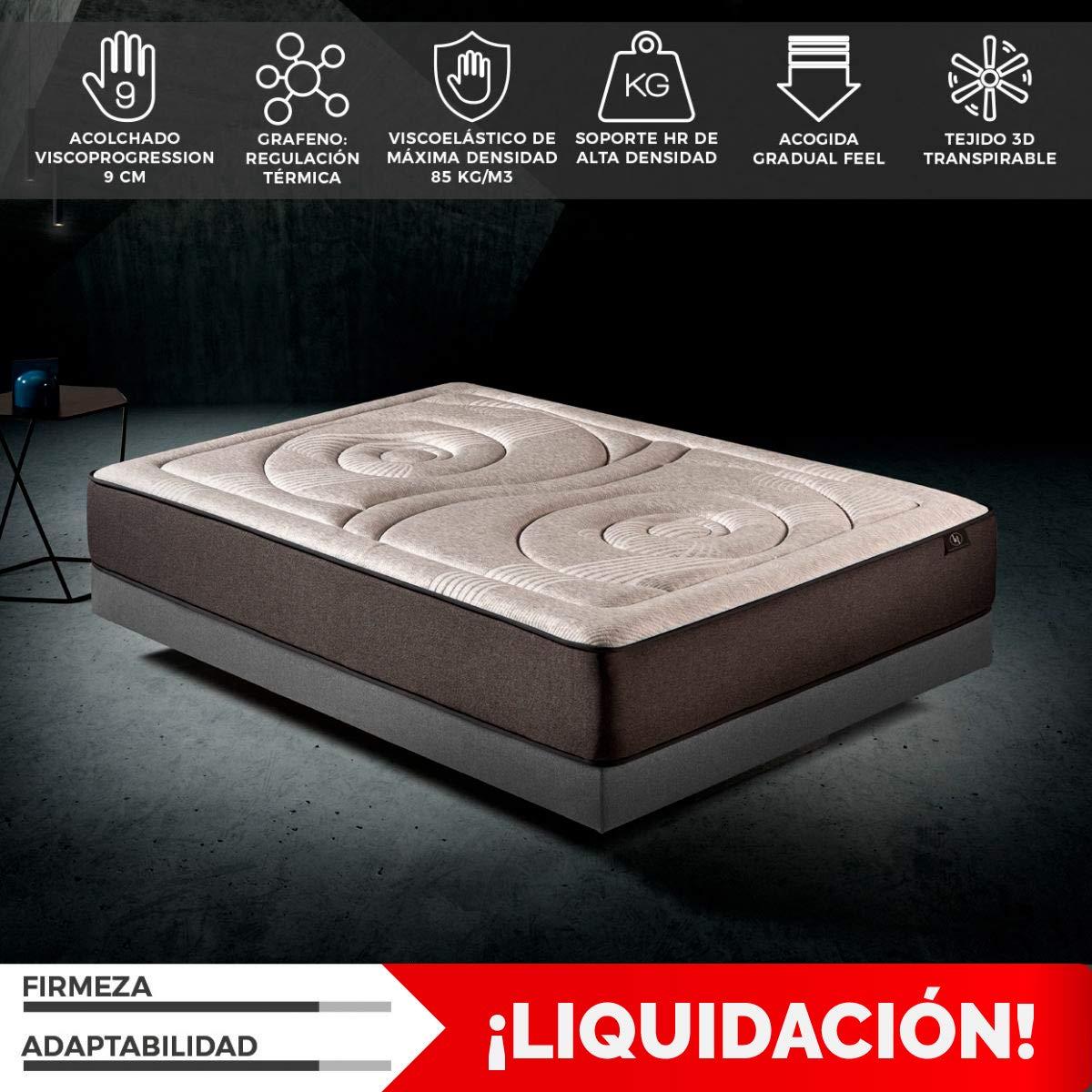 Colchón 90x190 viscoelástico Memory Platinum de altura 27 cm, 9 cm de ViscoProgression Grafeno de Alta Densidad (85 kg/m3) de Komfortland: Amazon.es: Hogar