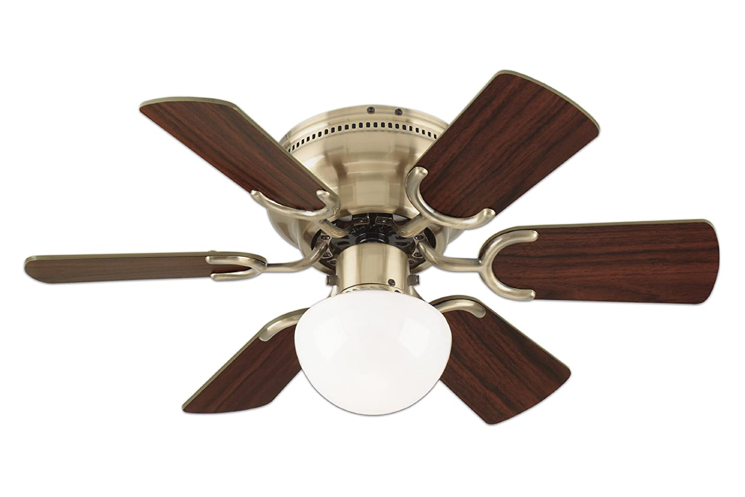 Westinghouse 78603 petite 6 blade 30 inch 3 speed hugger style westinghouse 78603 petite 6 blade 30 inch 3 speed hugger style ceiling fan with light antique brass amazon aloadofball Image collections