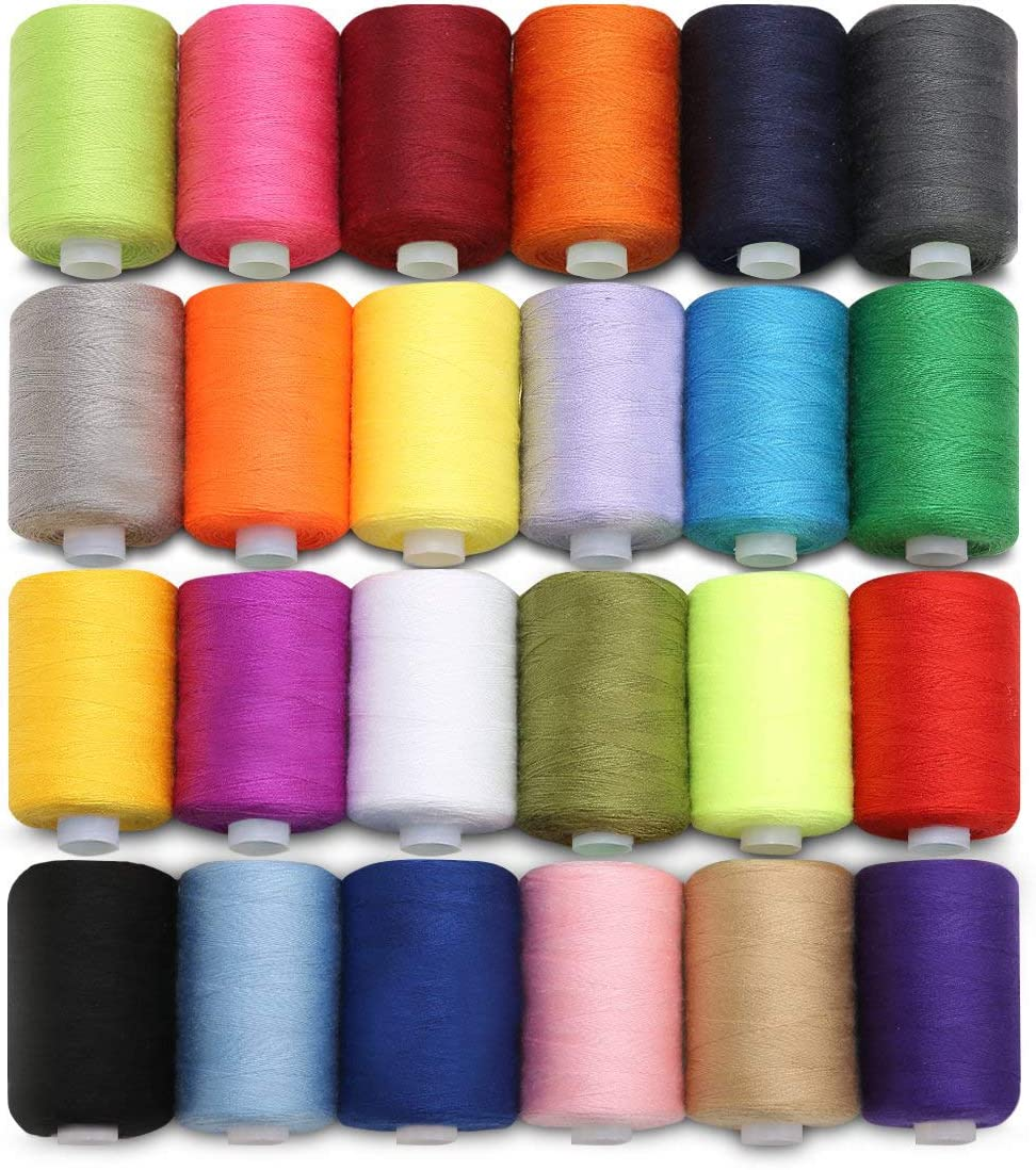Sewing Thread 24 Pcs Sewing Machine Thread in Assorted Bright Colors for Hand Sewing per Spool Cross Stitching 914m 1000 Yards Polyester Overlock Thread Cover Stitching /& Quilting