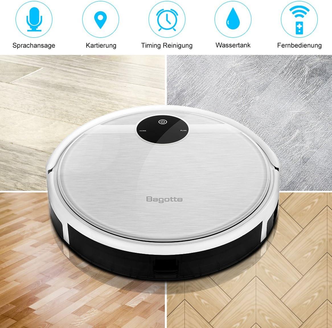Robot de aspiración Bagotte, 3-en-1, con función limpiadora y cepillos, recarga automática, filtro HEPA 3D, navegación giroscópica. Aspira el pelo de animal y alérgenos, suelos y alfombras plata: Amazon.es: Hogar