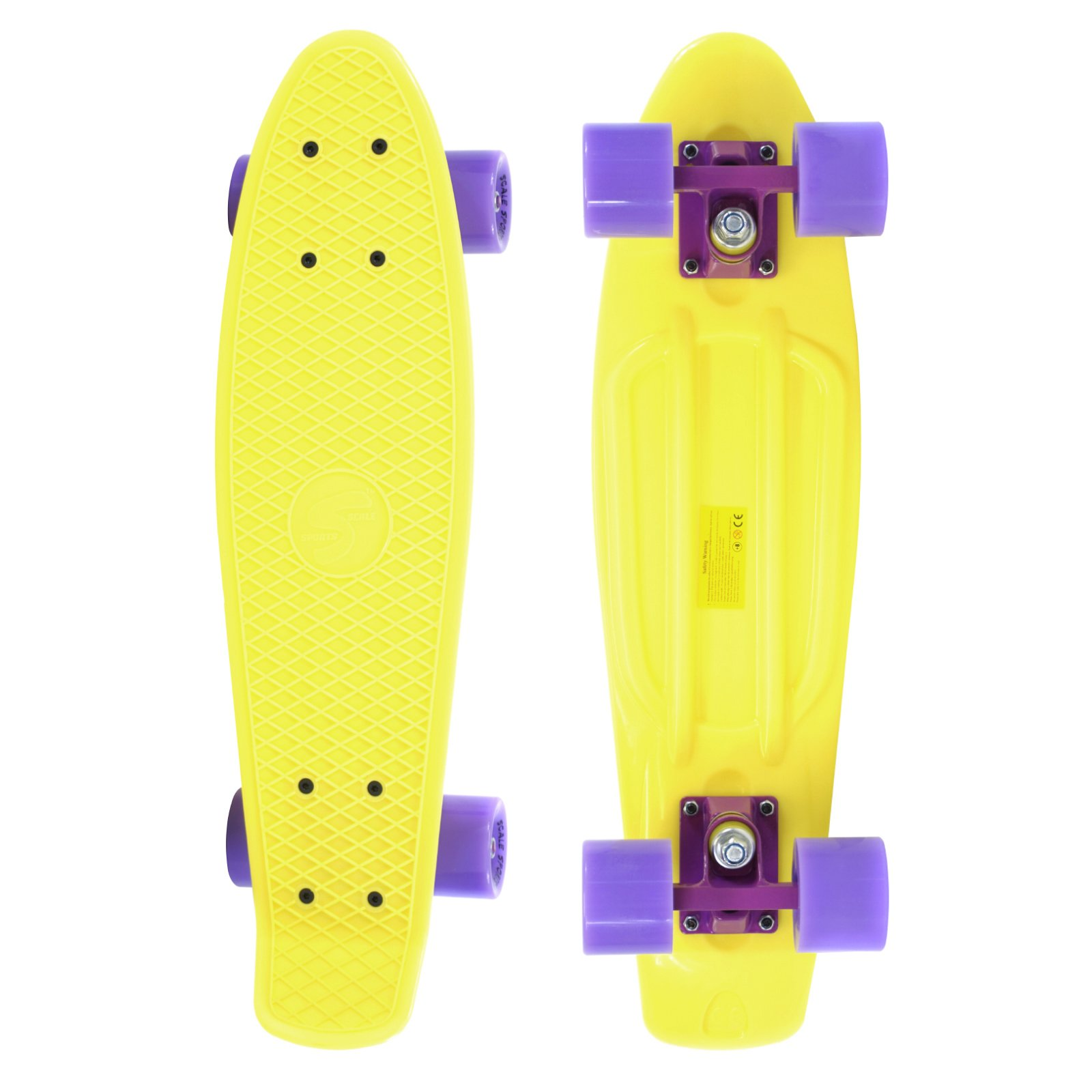 Scale Sports 22'' Skateboard Complete Pastel Street Retro Cruiser Classic Plastic Deck Yellow
