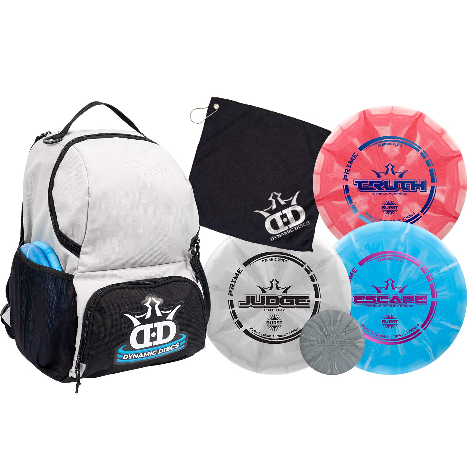 Dynamic Discs Disc Golf Starter Set | Gray/Black Cadet Disc Golf Bag Included | 17+ Disc Capacity | Prime Burst Disc Golf Frisbee Set Included | Putter, Midrange, Driver | 170g plus | Colors will vary by D·D DYNAMIC DISCS